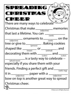 Christmas Cheer Mad Libs for Children