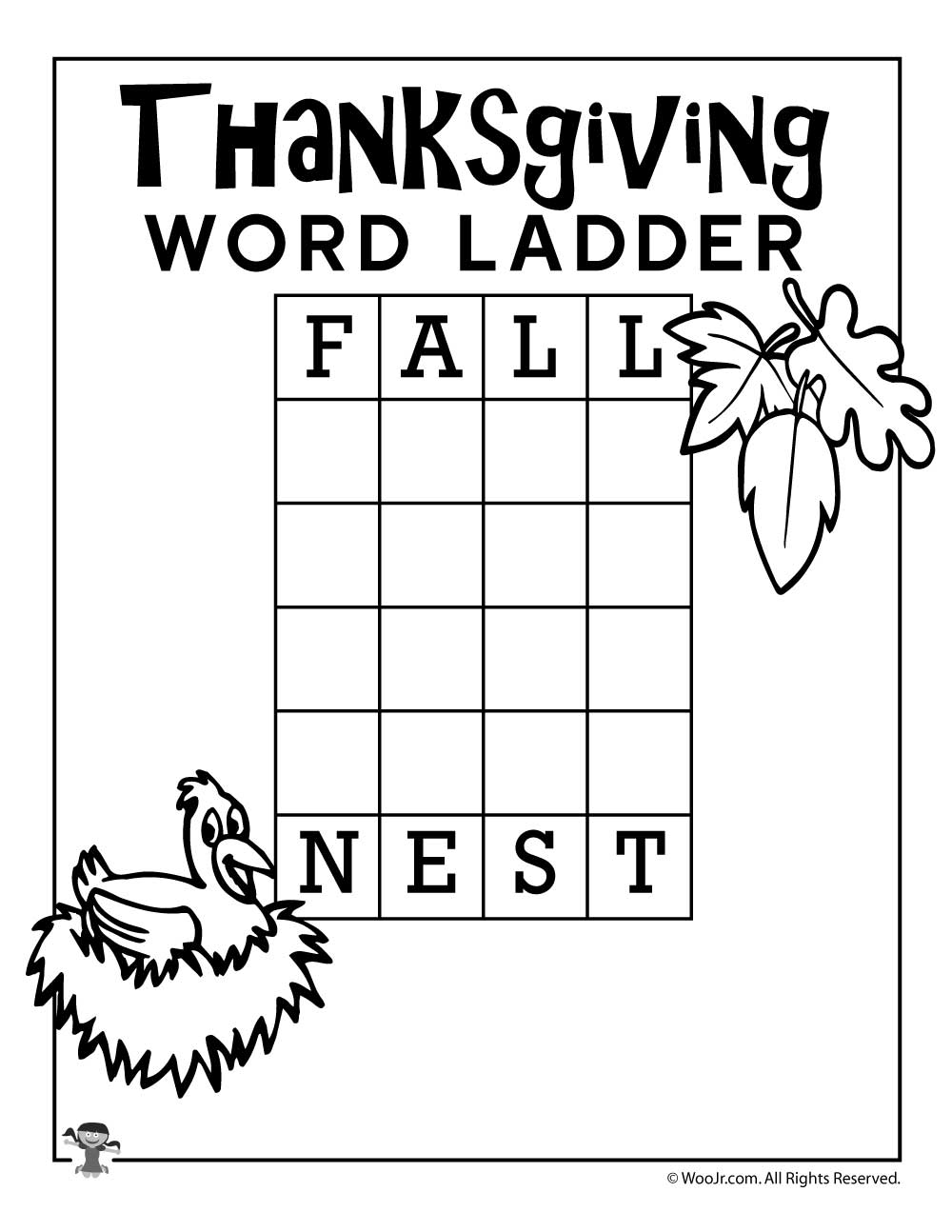 Worksheets Word Ladder Worksheets fall nest thanksgiving word ladder woo jr kids activities sharethis copy and paste
