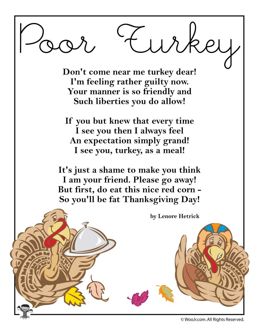 Poor Turkey Thanksgiving Poem Woo Jr Kids Activities