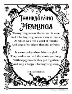 Thanksgiving Meanings Poetry for Kids