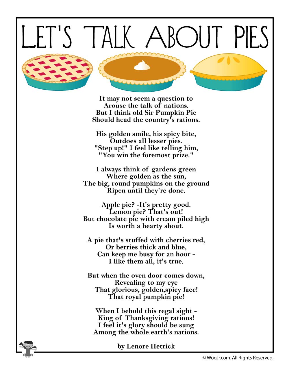 Let S Talk About Pies Poem For Kids Woo Jr Kids Activities