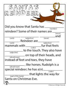 Reindeer Christmas Worksheet Parts of Speech