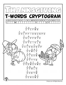 Thanksgiving Letter T Words Cryptogram