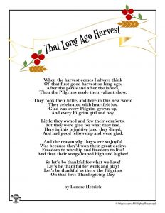 That Long Ago Harvest Poem for Thanksgiving