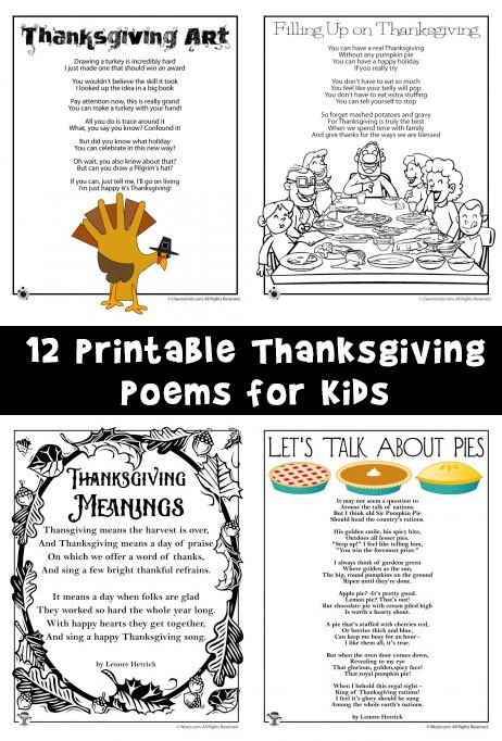 12 Printable Thanksgiving Poems for Kids
