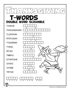 Thanksgiving Letter T Words Scramble