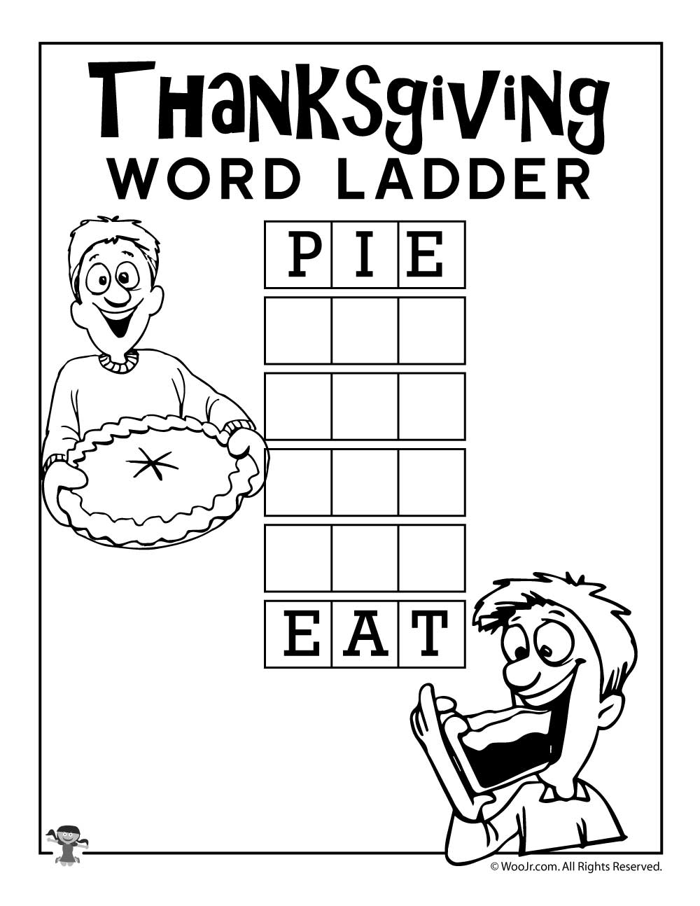 Worksheets Word Ladder Worksheets pie eat word ladder woo jr kids activities sharethis copy and paste