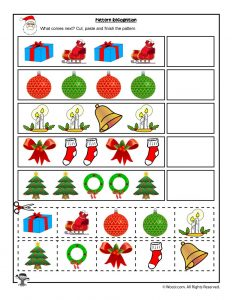 Cut and Paste Christmas Pattern Recognition Worksheet