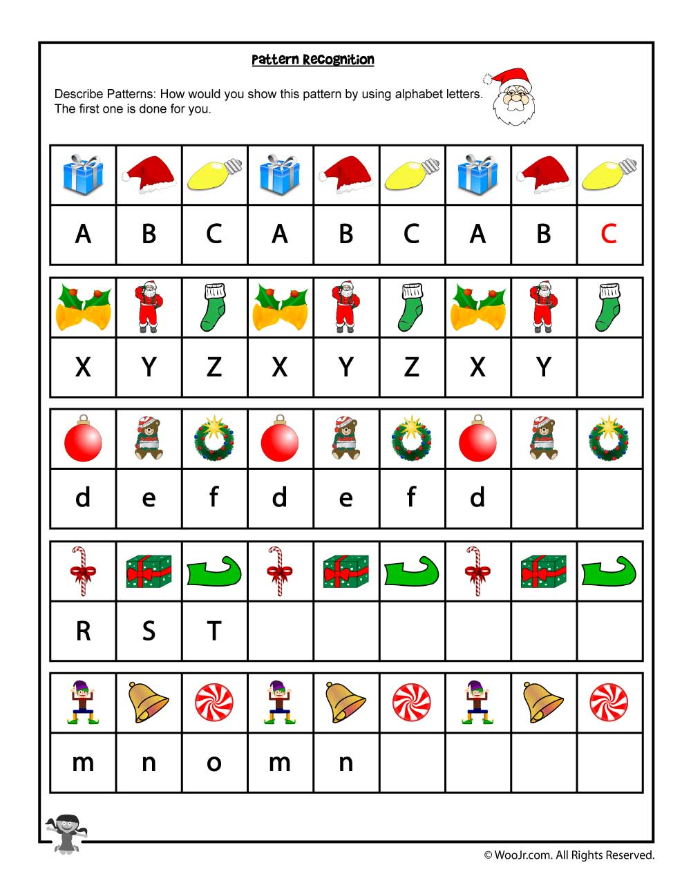 Christmas Pattern And Letter Recognition Worksheet  Woo Jr Kids