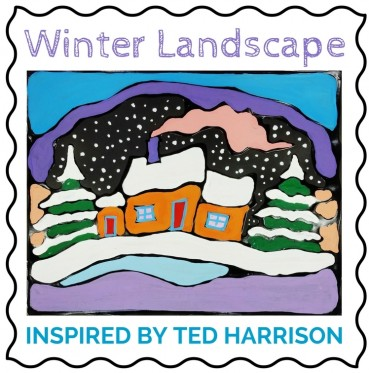 Winter Landscape Painting For Kids:  Inspired by Ted Harrison