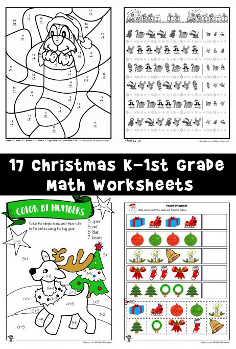 17 christmas k 1st grade math worksheets