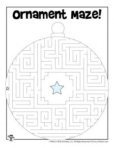 Holiday Ornament Maze Worksheet
