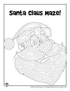 Cute Santa Maze Activity Page