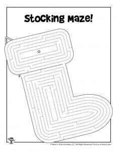 Stocking Printable Maze for Christmas