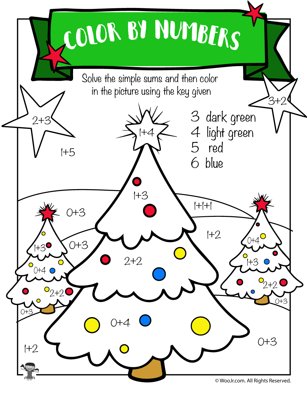 christmas tree math addition worksheet woo jr kids activities. Black Bedroom Furniture Sets. Home Design Ideas