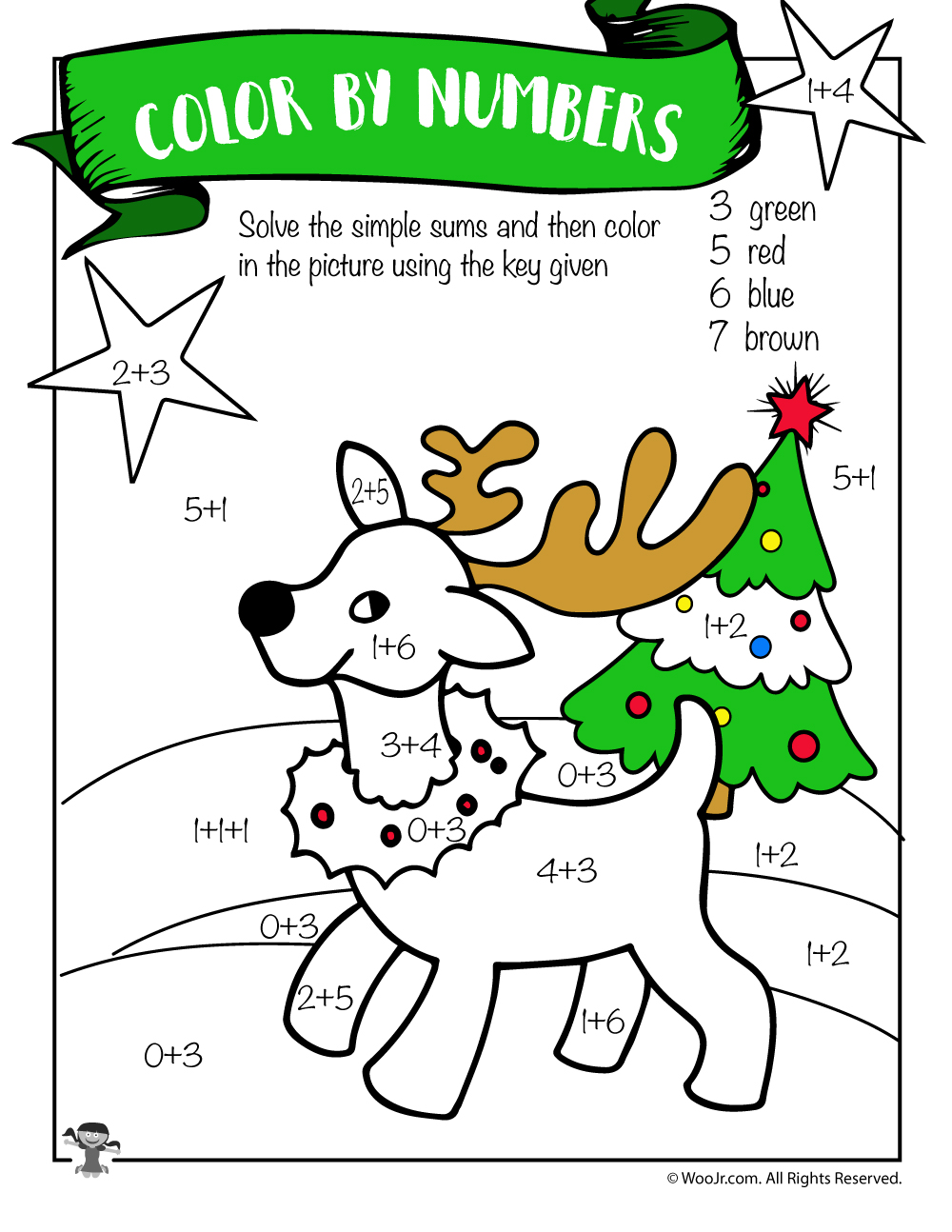 Reindeer Math Addition Coloring Worksheet