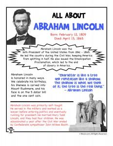Abraham Lincoln Fact Sheet Printable