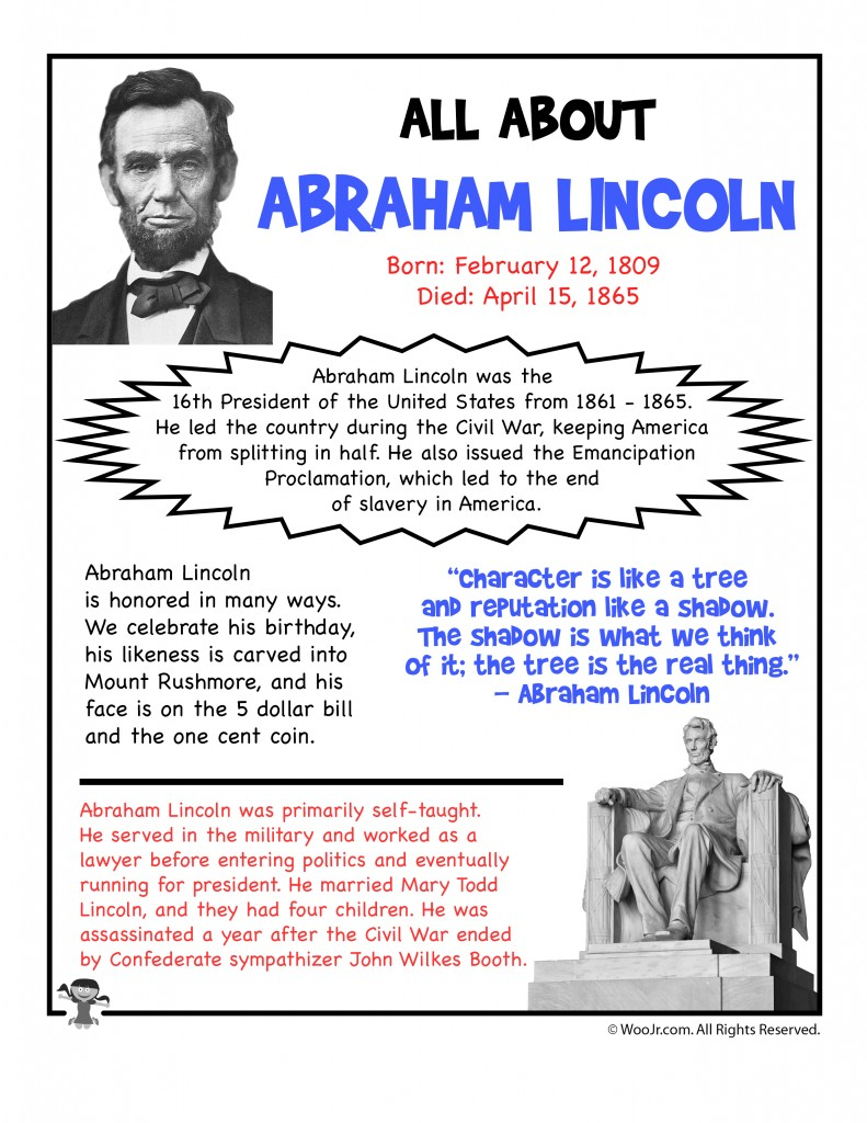 Abraham Lincoln Fact Sheet Printable Woo Jr Kids