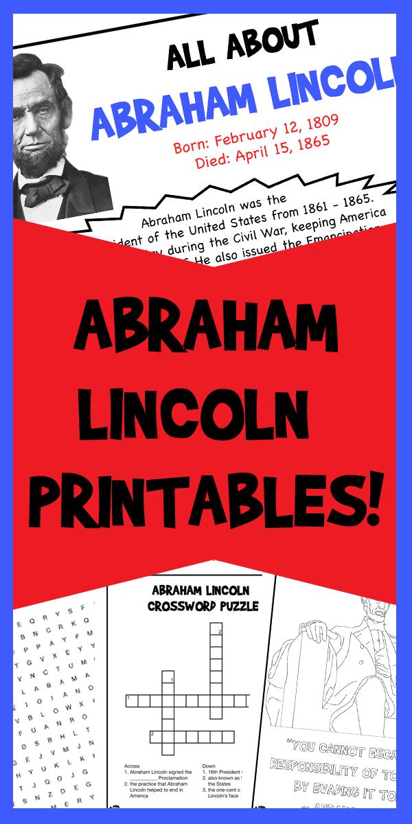 Abraham Lincoln Printables Woo