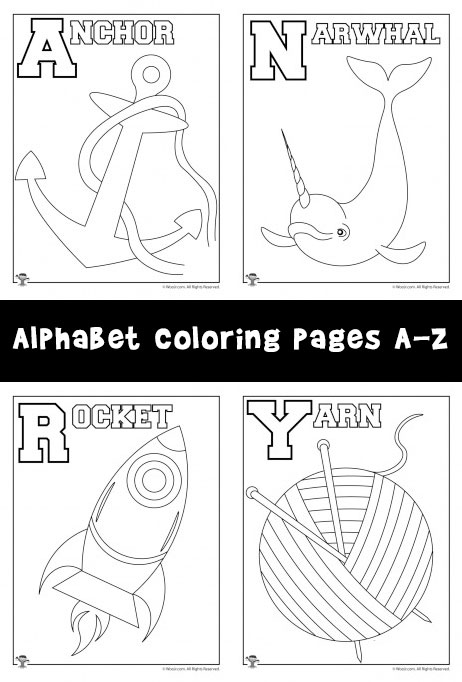 New Alphabet Coloring Pages Set A Z Woo Jr Kids Activities