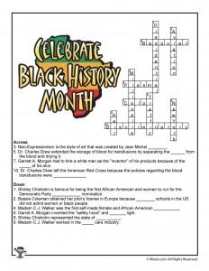 Black History Month Crossword Worksheet Answer Key