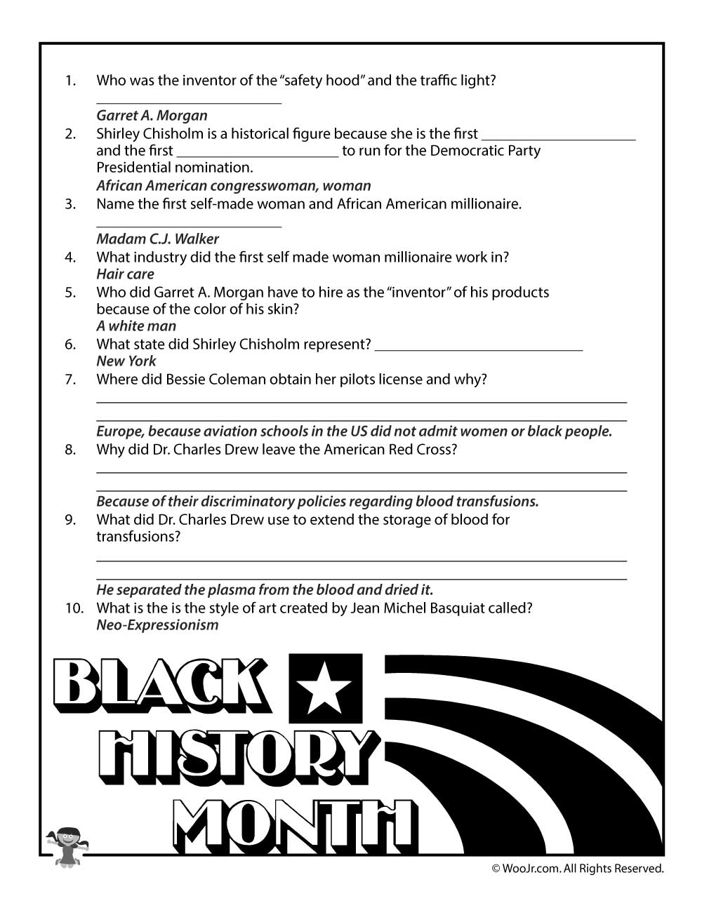 Black History Month Biographies Quiz Answer Key Woo Jr