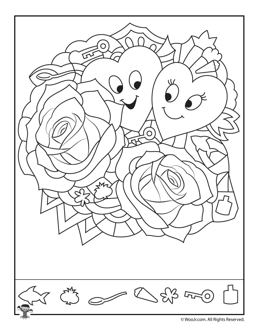 hearts and roses find the item puzzle woo jr kids activities. Black Bedroom Furniture Sets. Home Design Ideas