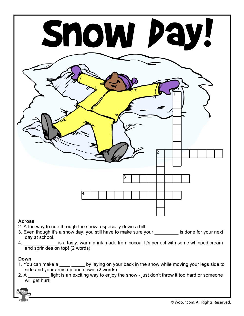 snow day crossword puzzle woo jr kids activities. Black Bedroom Furniture Sets. Home Design Ideas