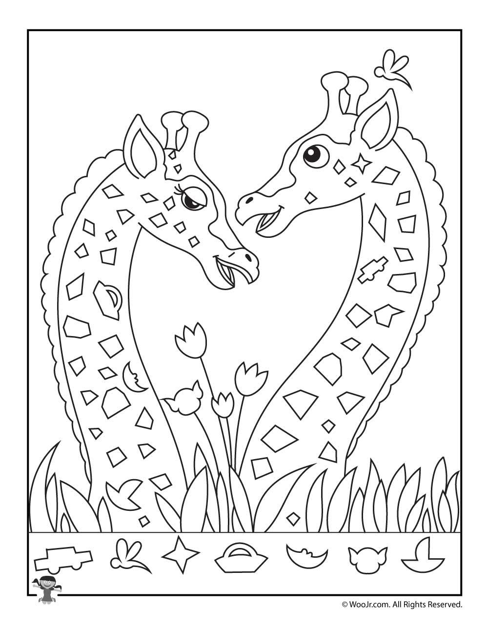Giraffes In Love Hidden Picture Activity Woo Jr Kids Activities