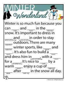 Winter Wonderland Kids Ad Libs