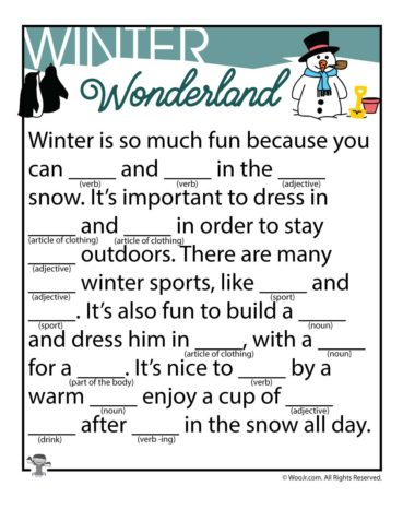 Winter Ad Libs Fill in the Blanks Stories