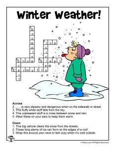 Winter Weather Crossword Puzzle Answer Key