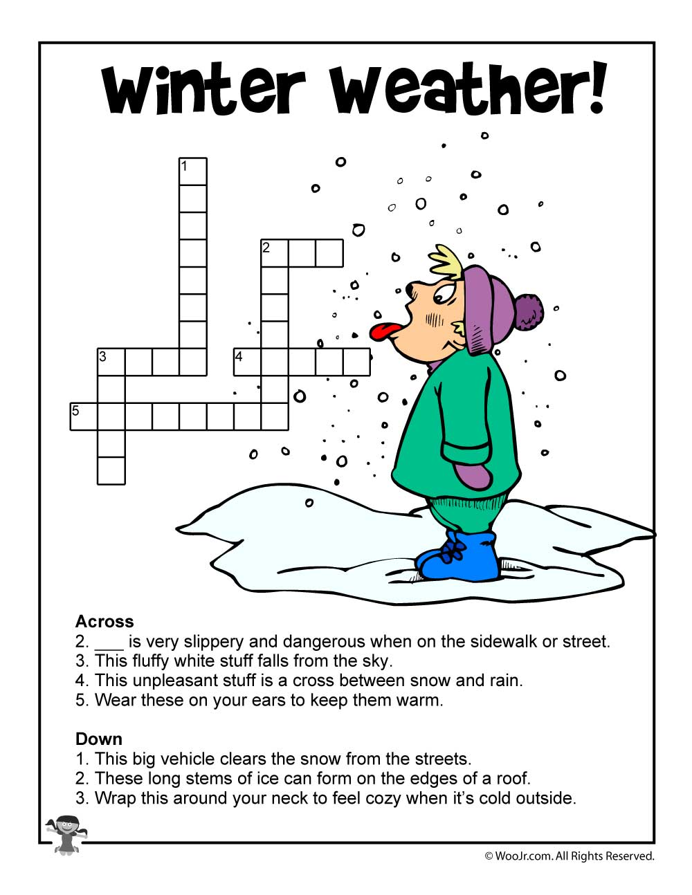winter weather crossword puzzle woo jr kids activities. Black Bedroom Furniture Sets. Home Design Ideas