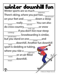 Winter Sports Ad Lib Game