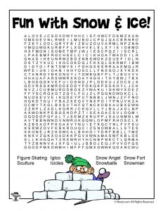 Snow and Ice Word Search for Kids