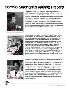 Female Scientists Lesson Plan Reading Page 1