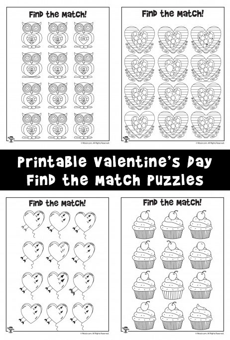 photograph regarding Valentines Puzzles Printable titled Valentines Working day Locate the Big difference / Sport Sport Web pages