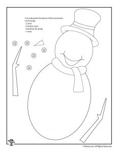 Color and Cut Out Winter Snowman