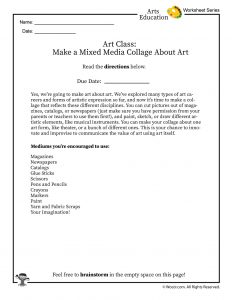 Art Collage Project Worksheet