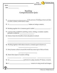 Arts Education Reading Comprehension Quiz