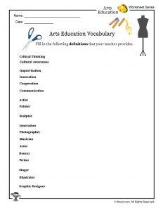 Arts Education Vocabulary Worksheet