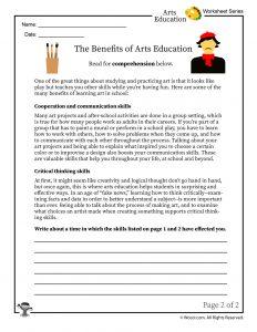 Benefits of Arts Education - Reading Worksheet 2