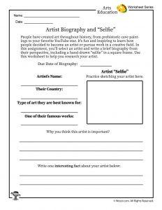 "Artist ""Selfie"" Project Worksheet"