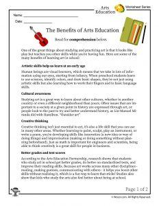 Benefits of Arts Education - Reading Worksheet