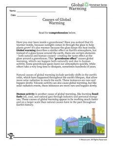 Global Warming Causes Printable Reading Worksheet