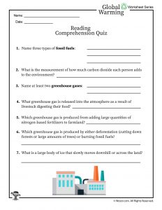 Global Warming Reading Comprehension Quiz
