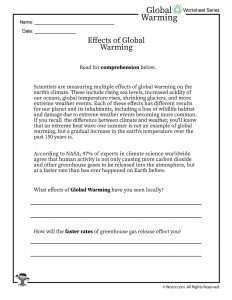 Global Warming Effects Printable Reading Worksheet