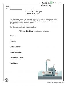 Climate Change Basics and Definitions Worksheet