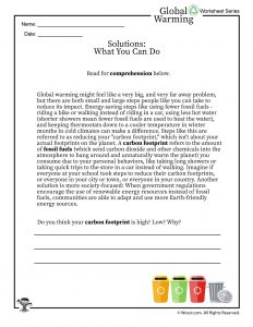 Global Warming Solutions Printable Reading Worksheet