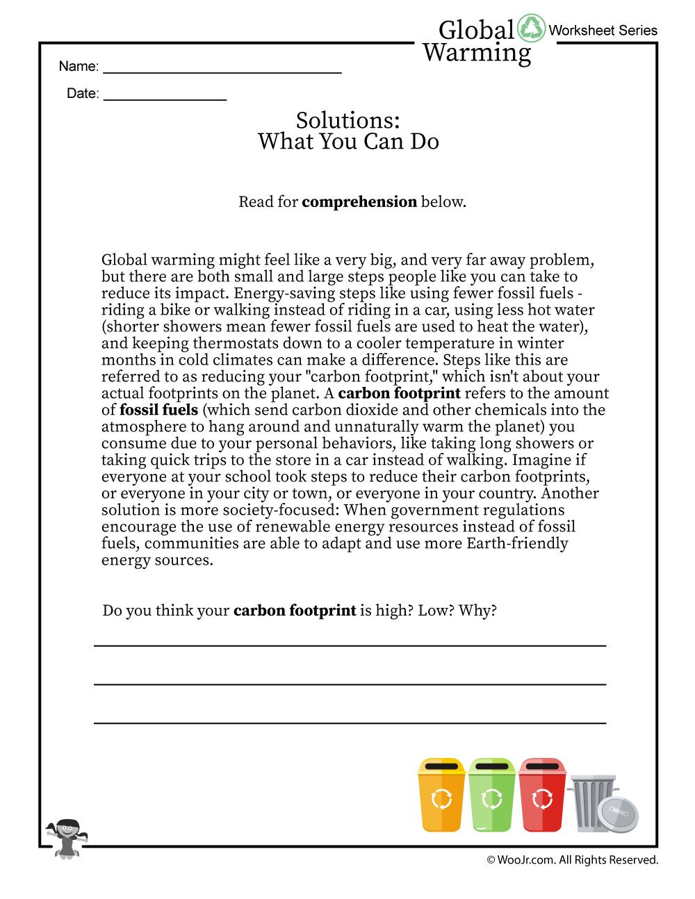Global Warming Solutions Printable Reading Worksheet Woo